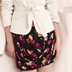 Dolan Black Floral Print Silk Draped Mini Skirt SM